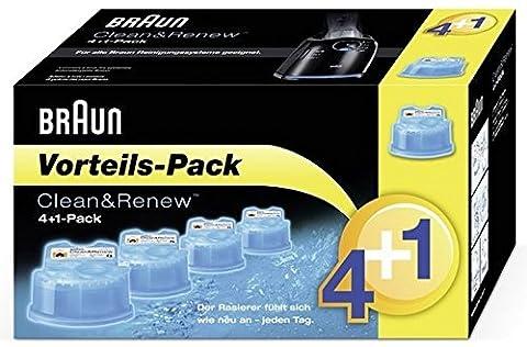Braun Clean&Charge Reinigungskartuschen CCR 4+1, für alle Series 3-9 Elektrorasierer, 5 Stück