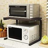 Leon's shop Küchenschrank Mikrowelle Doppelreiskocher Lagerung, C-Typ schwarzen Rahmen + Schwarze Walnuss Farbe