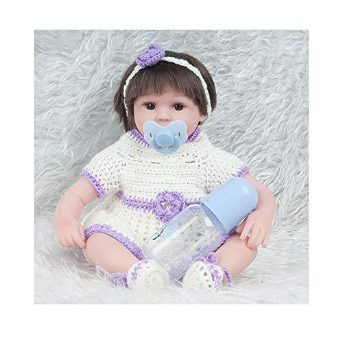 ADATEN Schöne wiedergeborene Babypuppen, die Puppenhandarbeit pflegen 45 cm Höhe Stoffkörper Weiches Silikon Lebensechtes Aufwachsen Partner mit schönem Kostüm Mädchen (Marionetten Puppen Kostüm)