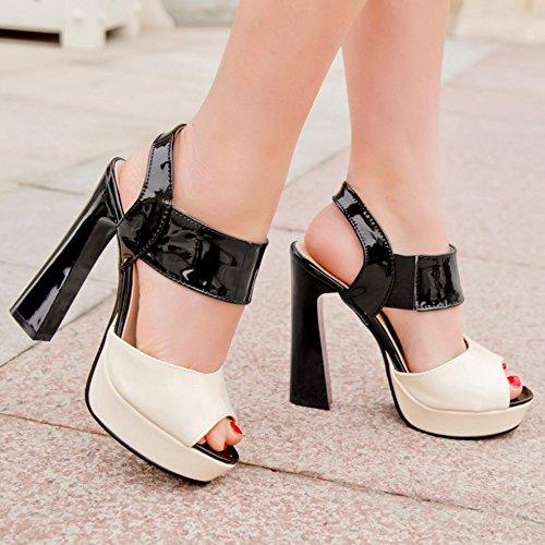 TAOFFEN Damen Elegant Peep-toe Blockabsatz Sandalen Slingback Party Shoes Schwarz