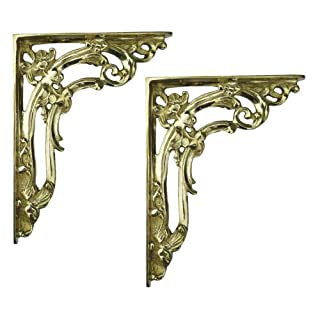 Pair of Small Brass Victorian Scroll Leaf Shelf Brackets (15cm x 20cm)