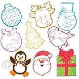 Banderole de Noël à suspendre que les enfants pourront colorier et décorer – Décoration de loisirs créatifs de Noël à confectionner et à suspendre (Lot de 24).