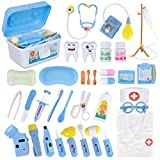 Doctor Kit, 35 Pack Kids Dentist Surgeon Vet Medical Kit with Light and Sound Including Electronic Stethoscope, Lab Coat Cap, Dr Pretend & Play Medical Equipment for Boys Girls Role Play /Xmas Gifts
