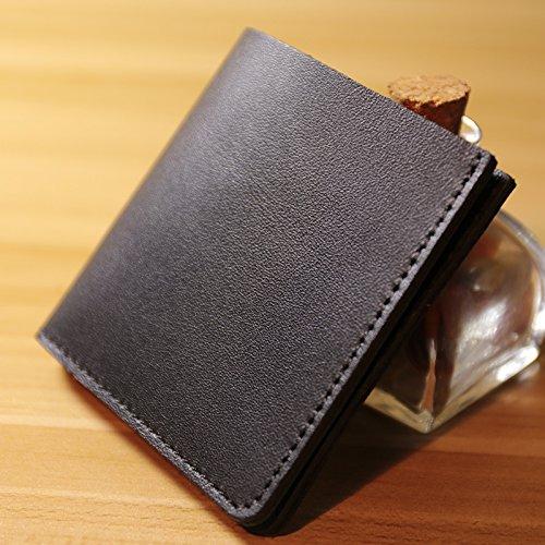 Handgefertigt kreativ einfachen Mini Handtasche Tasche Leder kleine kurze Wallet Geldbeutel von Männern und Frauen, schwarz Black