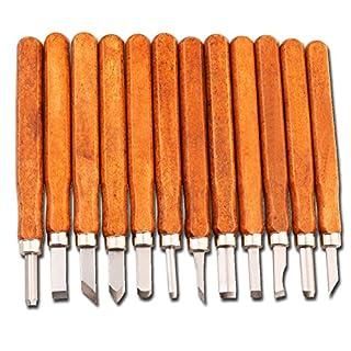 MAIKEHIGH handgefertigt Holzschnitzwerkzeug Holz Craft Stechbeiteln Schnitzmesser, handgefertigt für Skulptur Diy Griff Wax Carving Keramik - 12 Pieces