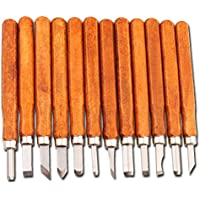 MAIKEHIGH Juego de cinceles - Escultura de cinceles, cuchillo de trinchar hecho a mano para DIY mango de madera de herramientas Wax Carving 12 Pieces