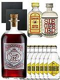 Gin-Set Monkey 47 SLOE GIN Schwarzwald Dry Gin 0,5 Liter + Siegfried Dry Gin Deutschland 4cl + Gordons Dry Gin 5cl + 8 x Goldberg Tonic Water 0,2 Liter + 2 Schieferuntersetzer quadratisch 9,5 cm