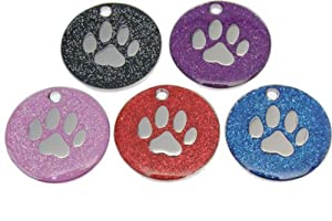Quality Enamel Glitter Dog Tag, Dog Paw Design, Personalised, Engraved Free by Dogstickers.net