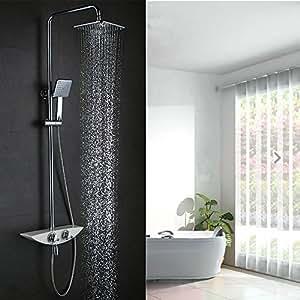 homelody thermostat duscharmatur mit drei funktion duschset duschsystem regendusche duschpaneel. Black Bedroom Furniture Sets. Home Design Ideas