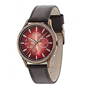 Sixties Unisex Multi dial Quartz Watch with Leather Strap SIX600RGAL-08-5