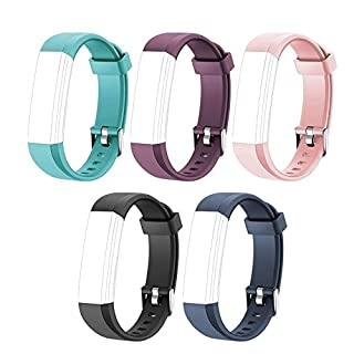 YiYunTE ID115U Replacement Straps - Adjustable Replacement Watch Bands For Fitness Tracker ID115U, ID115U HR(Black/Blue/Pink/Purple/Green)