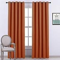 Ponydance Lotto 2 tende avvolgibili con occhielli 10 per Round Room, L 168 centimetri e H229cm, arancione / tendaggi Window Color singolo
