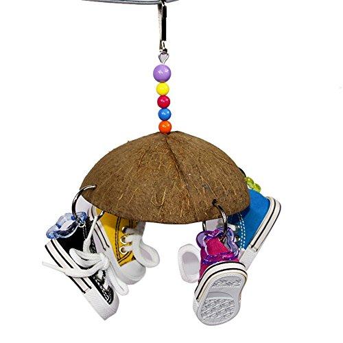 Homim Vogelspielzeug Aufhängen Kokosnuss Shell mit Schuhe Papageien Kauenspielzeug Käfig Dekoration zubehör