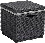 Allibert Outdoor Ice Cooler Bucket Box Garden Furniture with Cushion - Graphite