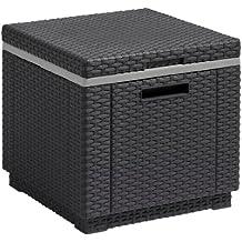 Keter. Ice Cube grafito. Mesa multiusos: nevera, mesa auxiliar y mueble decoracion de ratan plano.