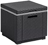 Allibert by Keter Rattan Ice Cooler Bucket Box Outdoor Garden Furniture - Graphite