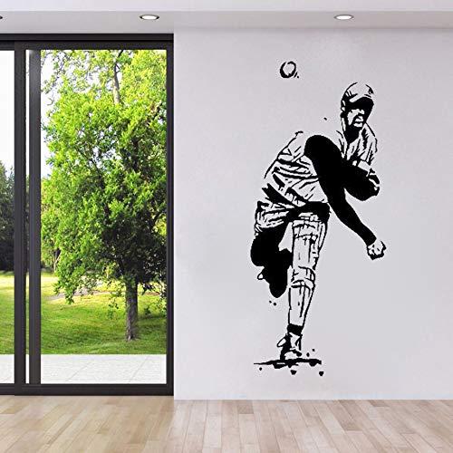 guijiumai 56x128 cm Wand Room Decal Vinyl Aufkleber Baseball Sport Player Man Pitching Wandtattoos Schlafzimmer Home Interior Ornament Wandbild weiß 56x128 cm