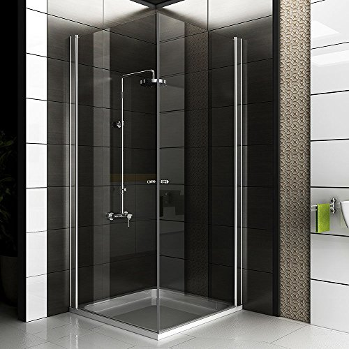 Eck-Dusche Rahmenlose Glas Duschkabine Duschabtrennung 80x80x195 Kostenlose Lieferung / Eckeinstieg Duschkabine / Sicherheitsglas Duschabtrennung Klappbar Drehtür Trennwand Duschwand