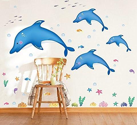 Xzpy129 Cartoon Stickers Poissons Enfants Chambre Chambre Salle de bains Décoration Jardin d'autocollants autocollants de verre, Cute Dauphins