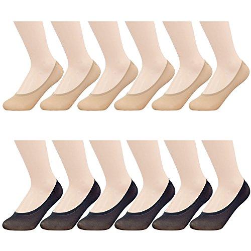 MANZI Damen 12 Paar Anti Slip Seidig Low Cut Füßlinge Unsichtbare -
