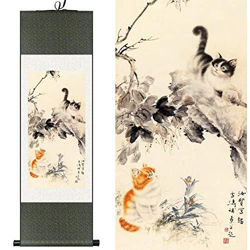 Suuyar seta cinese acquerello fiore animali gatti gattino inchiostro stampa artistica feng shui tela immagine della parete damasco con cornice scroll pittura 100x30 cm, b