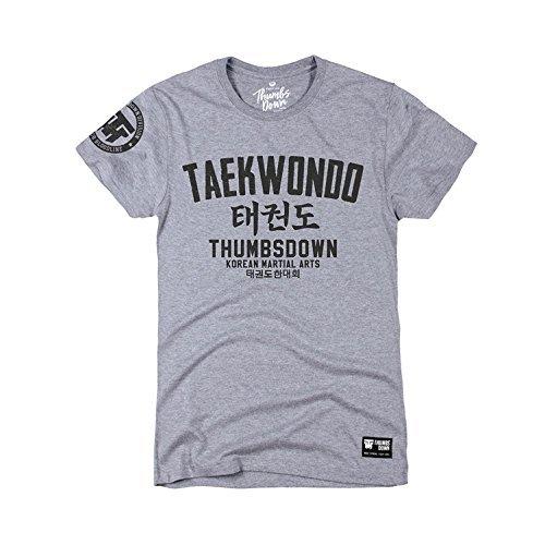 Thumbs Down Taekwondo T-Shirt. Korean Martial Arts. MMA. Gym. Training. Casual(Size Large) Grey