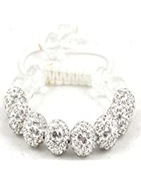 08-Ball Children Kids Girls Boys Petites Teen White Bead Shamballa Bracelet with White Crystals on White String