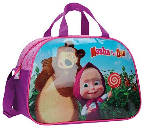 Masha y el Oso In The Wood Bolsa de Viaje, 24.64 Litros, Color Rosa
