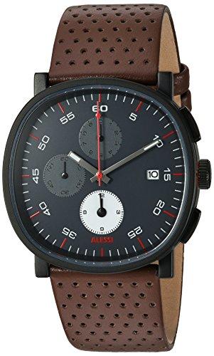 Alessi reloj infantil de cuarzo con para hombre esfera cronógrafo y correa de piel color marrón AL5031