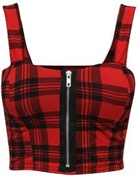 New Womens Ladies Zip Front Printed Bralet Tops