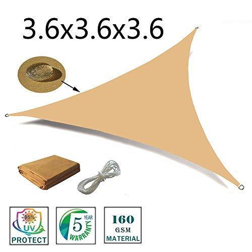 Love story tenda d'ombra triangolare 3.6 x 3.6 x 3.6 m, tenda impermeabile indicata per esterni, cortili, giardini, colore sabbia