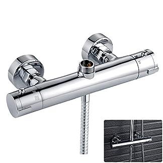Grifo mezclador para barra de ducha termostática, redondo, cromado, doble salida superior de 3/4 pulgadas BSP (25 mm), parte inferior 1/2 pulgadas BSP (21 mm)