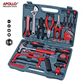 Apollo Tools 53pc Household and Garage Tool Bag Kit including Hack Saw, Sockets, Adjustable Spanner, Wire Strippers, Tin Snips and more - in Heavy Duty Case