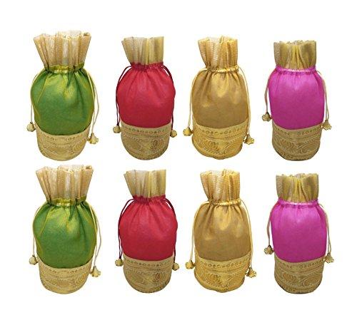 FashBlush Shiny Multicolor Tissue Silk Return Gift Shagun Party Pouch Potlis (Set...