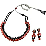 Fashionvalley Black Crystal Beads Red Kundan Choker Necklace for Girls & Women