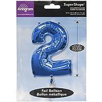 Blu Numero 2 Super-foglio palloncino forma (non gonfiato)