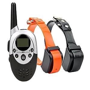 Rechargeable Étanche Chien Collier de Dressage Gamme Pet Télécommande Anti Aboiement Choc + Vibra + Électrique Pour 2 Chiens