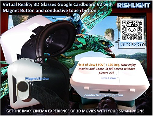 "Rishlight High quality Virtual Reality 3D Glasses Google Cardboard V2 for all 4.5 ~ 6"" Smart Phones with Conductive touch button - fully compatible with Lenovo K3 Note & Lenovo K4 Note"