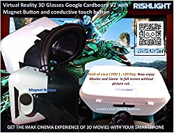 Rishlight VR+ High quality Virtual Reality 3D Glasses Google Cardboard V2 for all 4.7 to 6 inch screen Smart Phones with Magnet Button and conductive touch button - fully compatible with Redmi 3S Oneplus 3 (The Loop VR apps ), Lenovo K3 / K4 Note & all MI Redmi Mobile.(FOV :120 Deg )