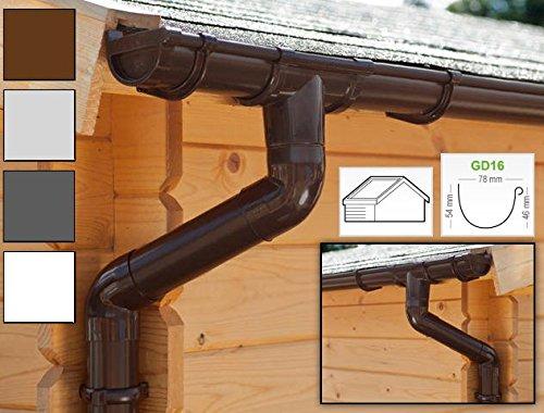 Dachrinnen/ Regenrinnen Set | Satteldach (2 Dachseiten) | GD16 | in 4 Farben! (Komplettes Set bis 3.50 m, Braun)