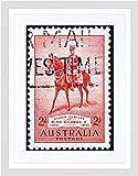 STAMP AUSTRALIA VINTAGE KING GEORGE V CHARGER ANZAC FRAMED ART PRINT B12X8859