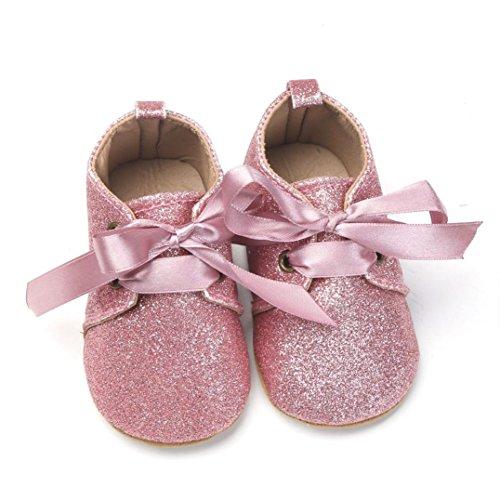 Clode® Neugeborene Baby Jungen Sequins Schuhe Leopard oben Beleg Spitze Querbinder Turnschuh Rosa