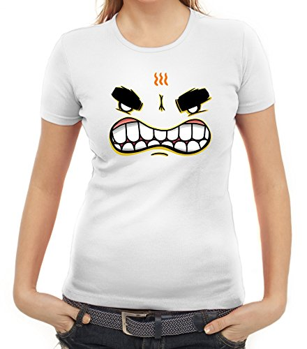 Lustiges Cartoon Emoji Damen T-Shirt mit Funny Faces - Mad Motiv Weiß