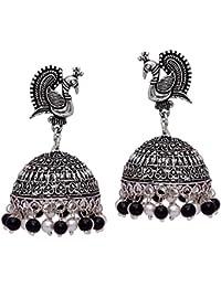 de135aee89 V L IMPEX White and Black Silver Tone Non-Precious Metal Brass Jhumka  Earrings for Women