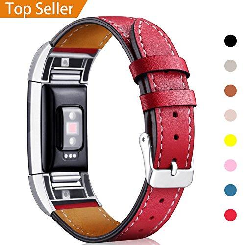 "Mornex Kompatibel Fitbit Charge 2 Armband, Echte Leder Armbänder, Unisex Ersatzband mit Metall Konnektoren(5,5\""-8,1\""), Rot"