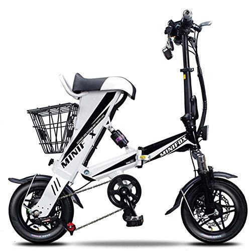Bicicleta Eléctrica Portátil Plegable,Bici plegable Scooter,Rango de 30-70 km,36V 250W,Adecuado para viajes cortos, escuelas, desplazamientos al trabajo, evitando atascos de tráfico,Whitesingle,16A