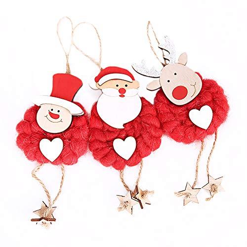 Scrox 3X Modisch Weihnachtskugeln Baumschmuck Weihnachten Deko Anhänger Weihnachtsschmuck Weihnachten Anhänger Filz Puppe Ornament Weihnachtsbaum Anhänger, Weihnachtsmann + Elch + Schneemann, Rot