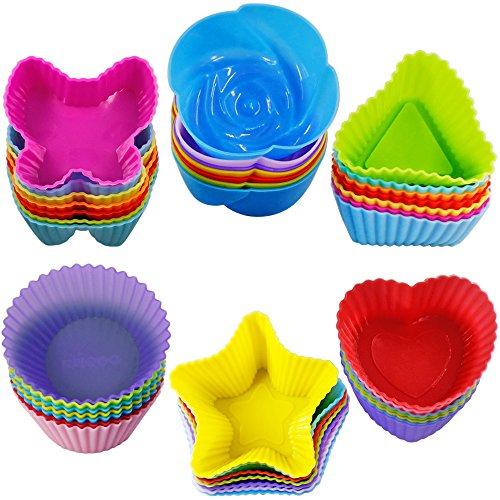 Silikon-cupcake-kuchen-form (42 Stück Silikon Cupcake Baking Cups, SENHAI Non-Stick Hitzebeständige Kuchen Formen Eis Würfel Formen für die Herstellung von Muffin Schokolade Brot - 6 Formen)