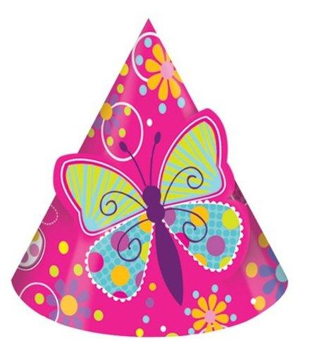 Schmetterling Sparkle Geburtstag Party Hüte, 8-count (Billig Hüte)