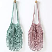 Metyou 2Pcs Portable Reusable Mesh Cotton Net String Bag Organizer Shopping Tote Handbag Fruit Storage Shopper NEW (green,purple)